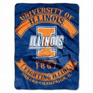 Illinois Fighting Illini Rebel Raschel Throw Blanket