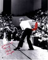 "Indiana Hoosiers Bob Knight Throwing Red Chair w/ ""Just Missed the Ref"" Signed 16"" x 20"" Photo"