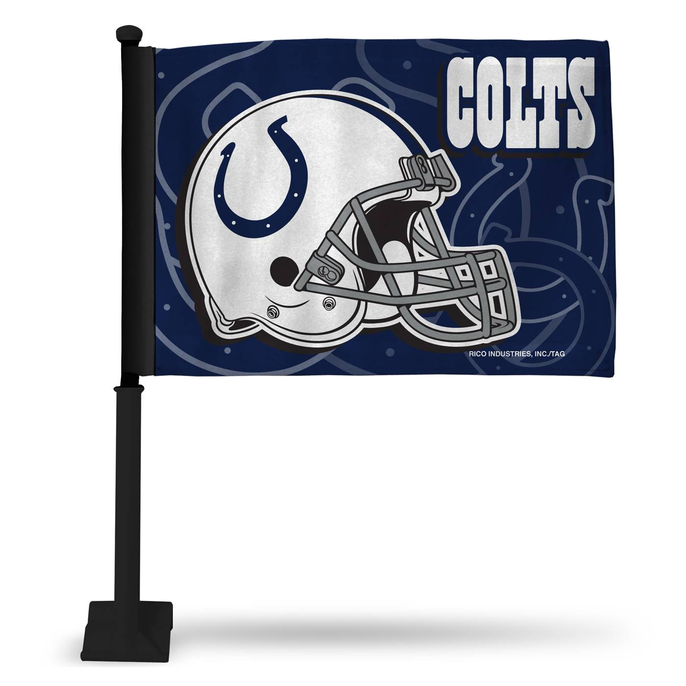 Indianapolis Colts Car Flag With Black Pole