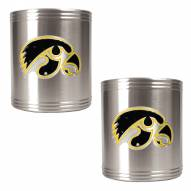 Iowa Hawkeyes College Stainless Steel Can Holder 2-Piece Set