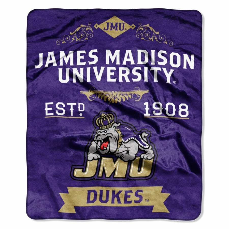 James Madison Dukes Label Raschel Throw Blanket