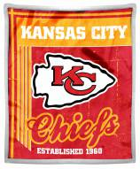 Kansas City Chiefs Old School Mink Sherpa Throw Blanket