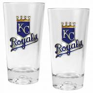 Kansas City Royals Baseball Sculpted Bottom Pint Glass Set
