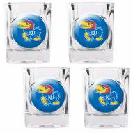 Kansas Jayhawks 4 Piece Square Shot Glasses