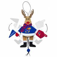 Kansas Jayhawks Cheering Reindeer Ornament