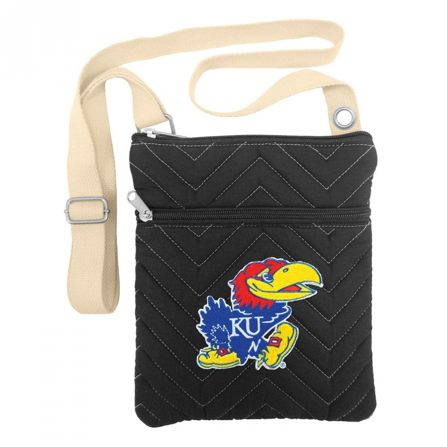 Kansas Jayhawks Chevron Stitch Crossbody Bag