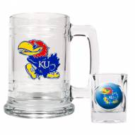 Kansas Jayhawks Glass Mug & Shot Glass Set