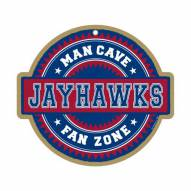 Kansas Jayhawks Man Cave Fan Zone Wood Sign