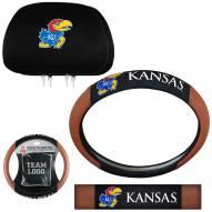 Kansas Jayhawks Steering Wheel & Headrest Cover Set