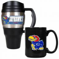 Kansas Jayhawks Travel Mug & Coffee Mug Set