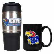 Kansas Jayhawks Travel Tumbler & Coffee Mug Set