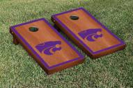 Kansas State Wildcats Rosewood Stained Border Cornhole Game Set