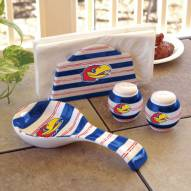 Kansas Jayhawks NCAA Spoon Rest, Napkin Holder, and Salt & Pepper Shaker Set