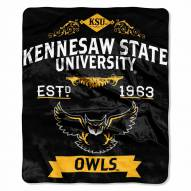 Kennesaw State Owls Label Raschel Throw Blanket