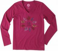 Life is Good Women's Crusher Vee Long Sleeve Lig Leaf Circle Tee