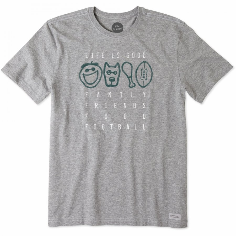 Life is Good Men's Crusher Tee Family Friends Food Football