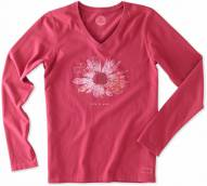 Life is Good Women's Crusher Vee Long Sleeve Lig Flower