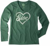 Life is Good Women's Long Sleeve Crusher Vee Give Love Shirt
