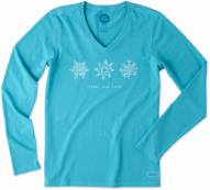 Life is Good Women's Crusher Vee Long Sleeve Good Vibes Snow Shirt