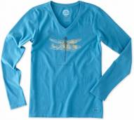 Life is Good Women's Crusher Vee Long Sleeve Let Fly Dragonfly