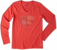 Life is Good Women's Crusher Vee Long Sleeve Seasons Heart Tee