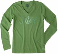 Life is Good Women's Joy Snowflake Crusher Vee Long Sleeve Shirt