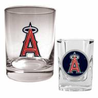 Los Angeles Angels of Anaheim MLB 14 Oz Rocks Glass & Square Shot Glass 2-Piece Set