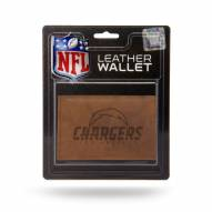 Los Angeles Chargers Brown Leather Trifold Wallet