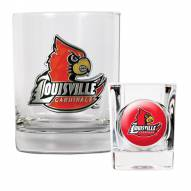 Louisville Cardinals Rocks Glass & Shot Glass Set