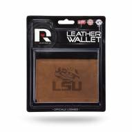 LSU Tigers Brown Leather Trifold Wallet