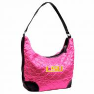 LSU Tigers Pink NCAA Quilted Hobo Handbag