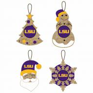 LSU Tigers Vintage Burlap Ornaments