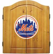 New York Mets MLB Complete Dart Board Cabinet Set (w/ darts & flights)