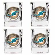 Miami Dolphins Open Field 4-Piece RealTree Square Shot Glass Set