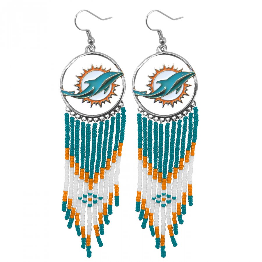 Miami Dolphins Dreamcatcher Earrings