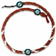 Miami Dolphins Leather Football Necklace