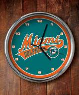 Miami Dolphins NFL Chrome Wall Clock