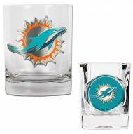 Miami Dolphins Rocks Glass & Shot Glass Set