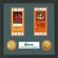 Miami Dolphins Super Bowl Ticket Collection Framed