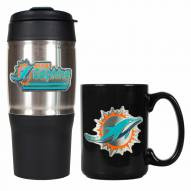 Miami Dolphins Travel Tumbler & Coffee Mug Set