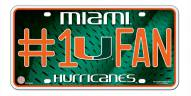 Miami Hurricanes #1 Fan License Plate