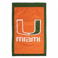 """Miami Hurricanes 28"""" x 44"""" Double Sided Applique Flag"""