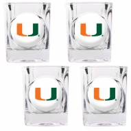 Miami Hurricanes 4 Piece Square Shot Glasses