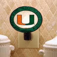 Miami Hurricanes Art Glass Night Light