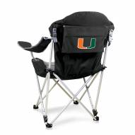 Miami Hurricanes Black Reclining Camp Chair