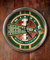 Miami Hurricanes Chrome Wall Clock