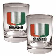 Miami Hurricanes College 2-Piece 14 Oz. Rocks Glass Set