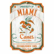 Miami Hurricanes College Vault Wood Sign
