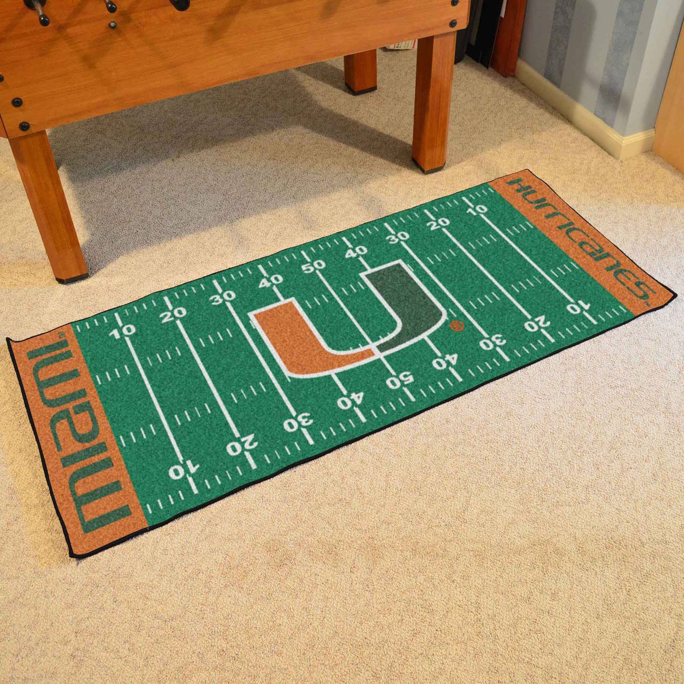 Miami Hurricanes Football Field Runner Rug