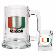 Miami Hurricanes Glass Mug & Shot Glass Set